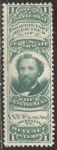 U.S. #RS189c Unused - 1c Green, Pierce on Pink