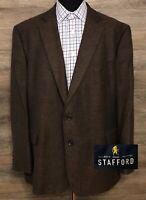 Stafford Men's Classic Fit Brown Merino Wool 2-BTN Blazer Sport Coat Jacket 50R