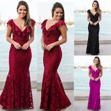 Womens Ladies Party Evening Prom Ball Gown Bridesmaid Maxi Long Dress Size 8-20