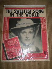 THE SWEETEST SONG IN THE WORLD,1938 VINTAGE SHEET MUSIC,GRACIE FIELDS
