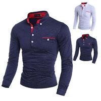 New Luxury Mens Slim Fit Stylish POLO Long Short Sleeve Casual Dress Shirt Tops