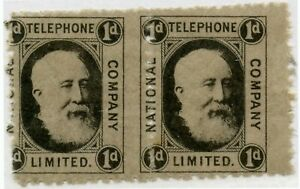 1884 NATIONAL TELEPHONE COMPANY stamp 1d PAIR MISPERFORATED ERROR