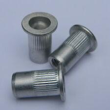 Blindnietmuttern M6 Stahl verz Flachkopf gerändelt klemmt 0,5-3mm 50 Stk