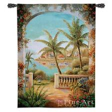 40x54 TROPICAL TERRACE II Palm Tree Ocean Floral Tapestry Wall Hanging