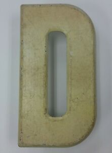 """7.5"""" Commander Board Letter D Sign Board Metal Yellow Rustic Beveled Edge Patina"""