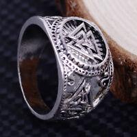 Herren Retro Wikinger Viking Signet Band Ring Odin Piratenring Schmuck Amulett