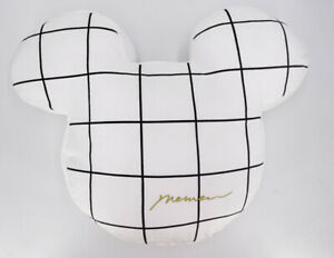 """Mickey Cushion 20"""" Doll Stuffed Pillow 2022 White Check Minnie Mouse"""