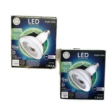 GE LED Lot of 2 Outdoor Dimmable Floodlights 90w 15W Bright White PAR38 1300 Lum