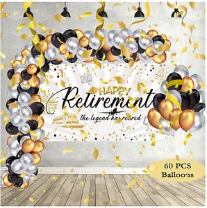 Retirement Party Supplies Decor Banner  Backdrop w/ Balloons Set For Women & Men