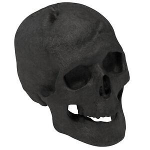 New Regal Flame Human Skull Ceramic Wood Large Gas Fireplace Logs - Black