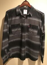 Levi's Long-Sleeve Button-Up Shirt Black Grey Stripe Men's Large