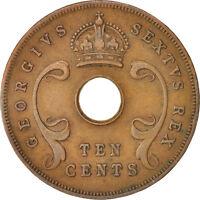 [#413430] EAST AFRICA, George VI, 10 Cents, 1951, EF(40-45), Bronze, KM:34