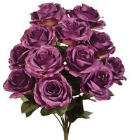 "12 Aubergine Purple 4"" Open Roses Artificial Bush Silk Flowers Wedding Eggplant"