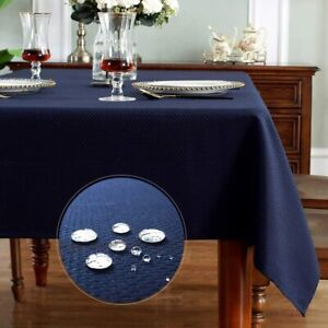 SMART&CASUAL Table Cloth Rectangle Jacquard Waved Waterproof Spillproof Wrinkle