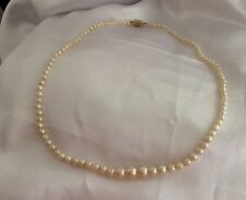 VINTAGE Cultured Pearl Graduated Necklace With 14k Gold Clasp.