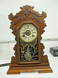 Antique Waterbury Victorian Mantel Clock Kitchen Clock +Key early 1900s clock