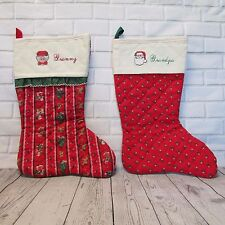"Christmas Stockings Personalized ""GRANNY"" & ""GRANDPA"" Cross Stitched  Lot of 2"