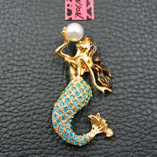 Betsey Johnson Blue Crystal Cute Pearl Mermaid Charm Animal Brooch Pin Gift