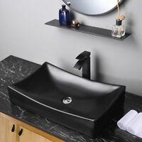 """26"""" Rectangle Bathroom Vessel Sink Above Counter Porcelain Pop up Drain Black"""