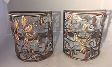 Pair of Brown Bronze-Color Metal Candle Holder Wall Sconces