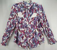 Liz Claiborn Womens M Top White Paisley Long Sleeve Shirt Button Up Rayon Blouse