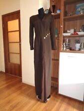 ESCADA COUTURE EXQUISITE BROWN SILK DEEP SLIT LONGLINE GALA EVENING GOWN-SIZE 36