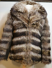 High Quality 100% Real Natural Striped  Raccoon  Fur Coat Stroller Jacket
