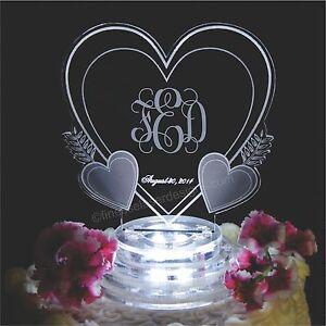 Vine Monogram Triple Heart Lighted Wedding Cake Topper Acrylic LED Custom