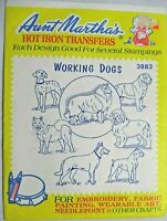 Aunt Marthas Working Dogs Hot Iron Transfers Embroidery Fabric Painting Craft