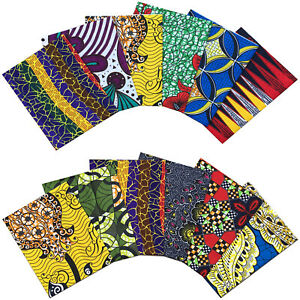 African Fabric Multicolored Cotton Print FAT QUARTER BUNDLE Crafting Patchwork