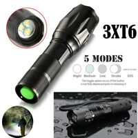 15000LM 3xT6 LED Zoomable Flashlight Waterproof 18650 Torch Light Lamp Aluminum