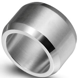 15MM Size 7-15 Stainless Steel Wedding Engagement Ring Band Biker Strong Huge