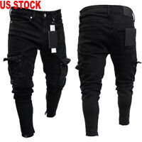 US Men Ripped Biker Skinny Jeans Frayed Destroyed Trousers Casual Denim Pants