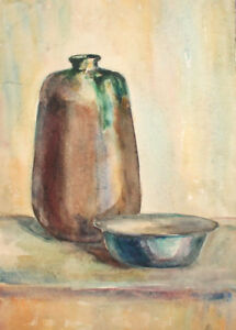Vintage watercolor painting still life with pitcher and bowl