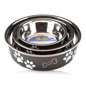 Loving Pets BELLA BOWL Stainless Steel Dog Feeder Bowl ESPRESSO