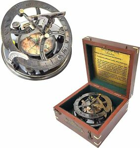 Brass Nautical - 5 inches Large Sundial Compass in Rosewood Case