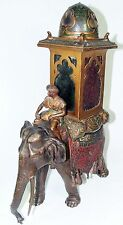Franz Bergman Cold Painted Bronze & Colored Glass Lamp w/ Elephant Carrying Man