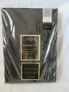BRAND NEW WATERS & NOBLE BLACK READY MADE BLACKOUT CURTAINS W 228 cm 137 cm D