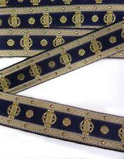 21MM  Navy Blue / Gold Vintage Classic Woven Jacquard Ribbon Trim-5 Yards (T033)