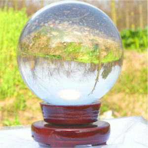 Clear Glass Crystal Ball Magic Healing Meditate Sphere Photography 100mm + Stand