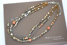 "Silpada NIB Sponge Coral Shell Bead ""Fiesta Fun"" Sterling Silver Necklace N1563"