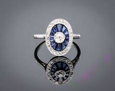 Cz Oval Shaped Women's Engagement Ring 925 Sterling Silver & White Stone &