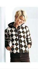 FLASHLIGHTS Fleece Jacke Gr.32/34 NEU braun weiß mit Rauten Muster kuschlig warm