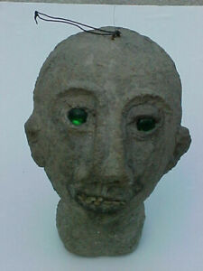 Vintage Unique Primative Paper Mache Head with Real Teeth & Glass Green Eyes