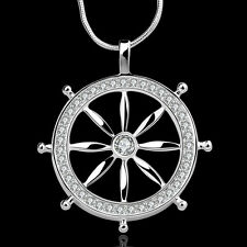 """925Sterling Silver Fashion Jewelry Ship Steering Wheel Woman Necklace 18"""" NY679"""