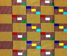 African Fabric 1/2 Yard Cotton Wax YELLOW PURPLE BLUE GREEN Kente Print TEXTURED