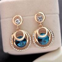NEW Fashion Round Crystal Blue Glass Rhinestone Gold Plated Women Stud Earrings