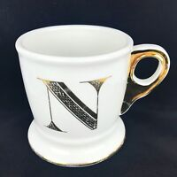 Anthropologie Limited Edition GOLD Letter N Initial Monogram Coffee Mug Cup