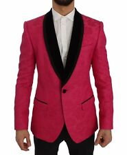 NEW $2600 DOLCE & GABBANA Blazer Jacket Pink Floral Brocade Slim IT48 / US38 / M