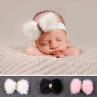 nouveau - né bébé fille bow grand fausse fourrure de lapin bébé bandeau pierre
